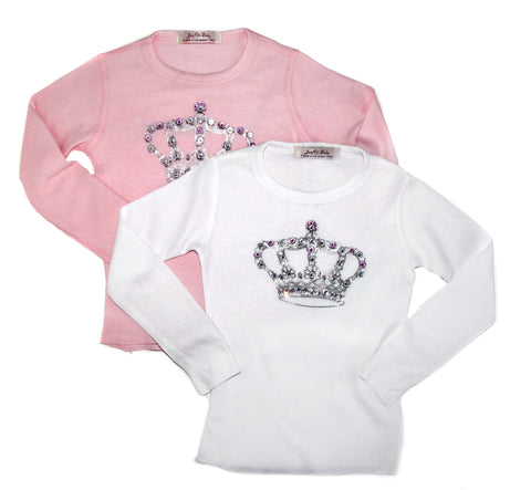 Every little princess needs a touch of sparkle. This soft, long sleeve cotton thermal tee is inspired from the royal 'West End' part of London. Rhinestone embellished crown on the front, and 'west end girl' on the back.