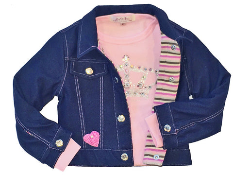 denim-jacket cozy, soft, handmade, couture, vintage, rhinestone, denim jacket for baby, Paris, love