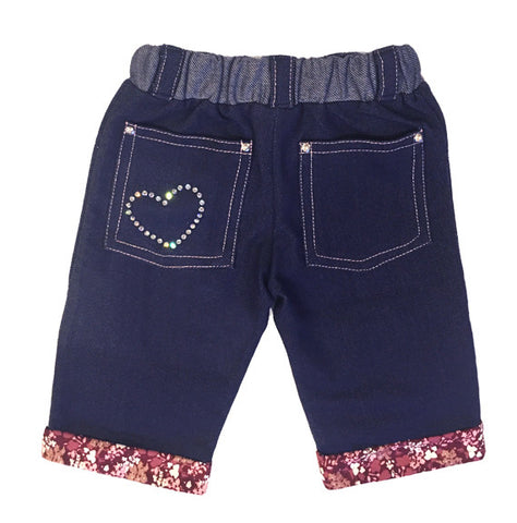 Softest, denim, knit,protective, padding, knees,floral, print, cuff,silver rivets,rhinestones,bling,classic jean,baby,crawling pants,girls,capri jeans,best