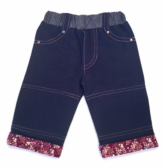 Softest, denim, knit,protective, padding, knees,floral, print, cuff,silver rivets,rhinestones,classic jean,baby,crawling pants,girls,capri jeans,best