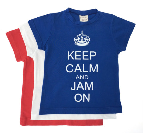 Softest,fine jersey,short sleeve,cotton tee,keep calm and jam on,fun,boys t-shirts,local manufacturers,100% Cotton,Machine washable,Made in USA,shop Jam On Baby