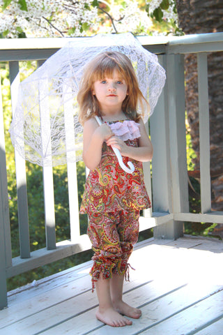 summer, colors, sweet, sassy, paisley, capri, pants, brighten, little princess, wardrobe, delicate, spaghetti straps, chiffon, layered ruffles, bows
