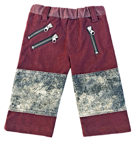 'Born to be Wild' in these cool Motocross jeans with faux distressed leather, padded knee patches, back pockets and decorative zipper accents. Super soft, denim knit fabric with elastic waist for easy on and off.