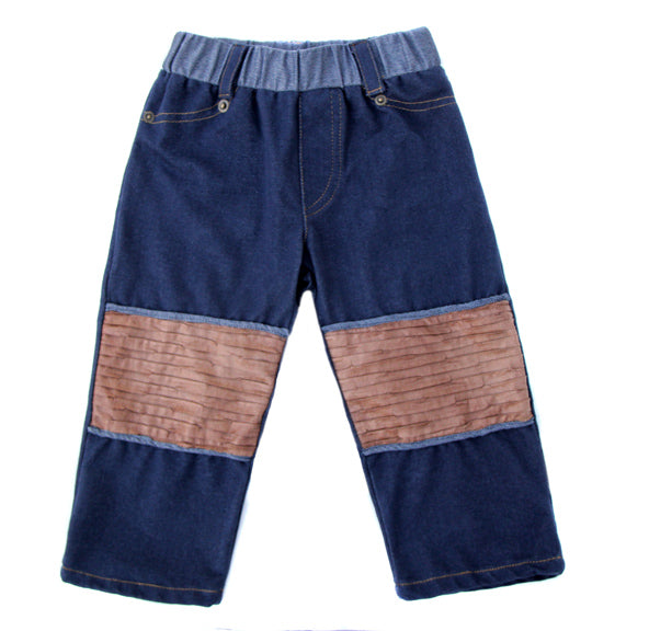 Our softest and most durable jean for the most active little cowboys,great,stretch, softness, Faux leather,padded knee patches, back pockets,contrast topstitch