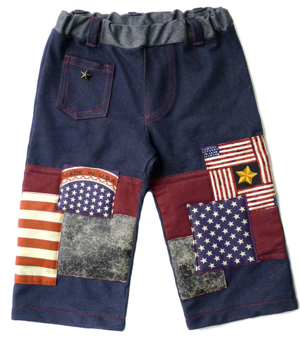 Limited Edition, Patriot Patch Jean with vintage patches, sewn over soft knee padding for extra protection & comfort. Contrast stitching throughout. Coin pocket with antique bronze star rivet (baby safe), along with back pockets, (back pocket with star print patch is non functional). Elastic waist with added belt loops.