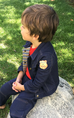 Route 66, boys, soft, comfy, denim jacket,stripe,cotton lining,baby,toddler,cute kids clothes,best,,vintage jean jacket,made in USA