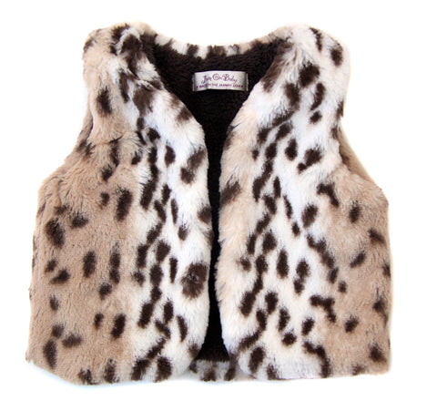 Your winter princess will be warm and cozy in our reversible snow leopard cuddle vests