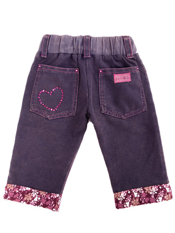 toddler, girls, favorite, summer, capri, jean, Stonewashed, purple, hot pink, rhinestone, detailing, pockets, contrast stitching, padded knee pants, made in USA