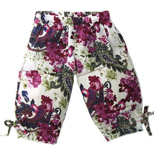 cool, comfy,summer clothes,Purple, paisley, floral print, capri pant, with drawstring ties at the hem, elastic waist,100% Cotton