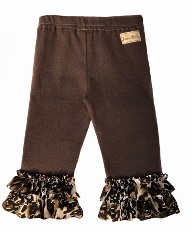 Most popular... our soft, sustainable combed cotton, rib knit legging with fully lined padded knee design. Leopard print ruffle trim in Lycra.  Pair with reversible leopard cuddle vest to complete the look.