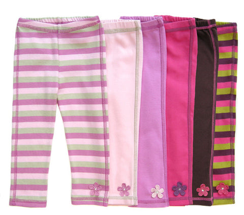 soft,cotton,girls,leggings,stripes,flower,embellishments