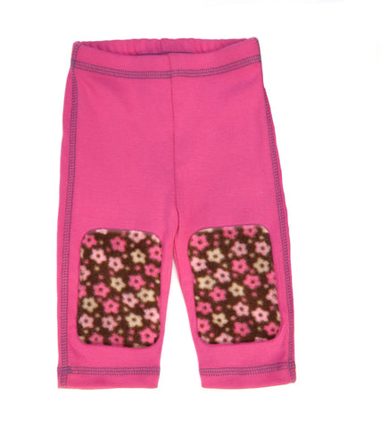 Posh pink, flower fleece patch leggings are a favorite this winter. 100% combed cotton rib knit with contrast stitching. Super soft