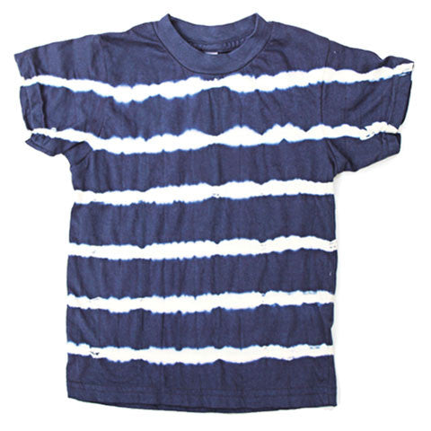 Super soft, organic cotton tee for little dudes.  Hand dyed in navy & white stripe pattern, so no two tees will look alike.