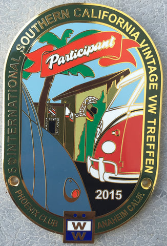 "2015 So. Cal Vintage VW Treffen ""Participant"" Car Badge"