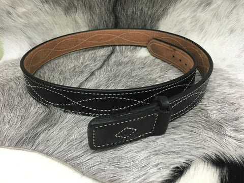 Black Belt w/ Leather Covered Buckle