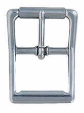 Square Corner Center Bar Buckle w/ Rollers - Stainless Steel