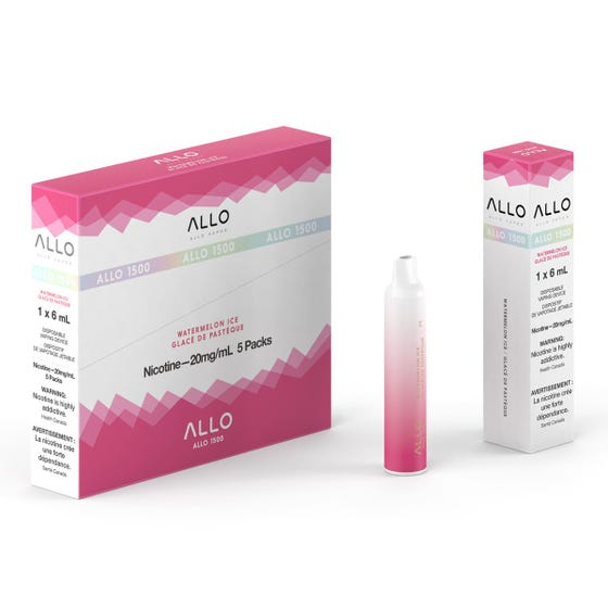 Watermelon Ice ALLO 1500 Disposable Pod Bar Alliston Newmarket Woodbridge Vaughan Toronto GTA Ontario Canada