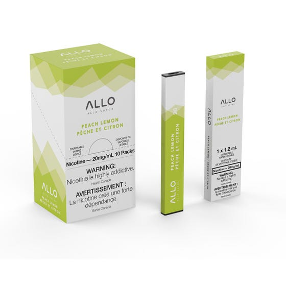 Peach Lemon ALLO Disposable Pod Bar Alliston Newmarket Woodbridge Vaughan Toronto GTA Ontario Canada