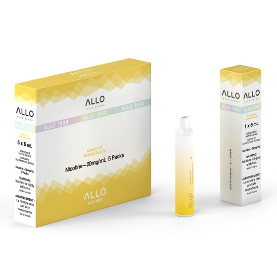 Mango Ice ALLO 1500 Disposable Pod Bar Alliston Newmarket Woodbridge Vaughan Toronto GTA Ontario Canada