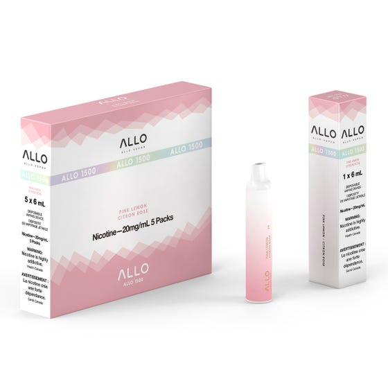 Pink Lemon ALLO 1500 Disposable Pod Bar Alliston Newmarket Woodbridge Vaughan Toronto GTA Ontario Canada