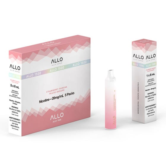Strawberry Banana ALLO 1500 Disposable Pod Bar Alliston Newmarket Woodbridge Vaughan Toronto GTA Ontario Canada