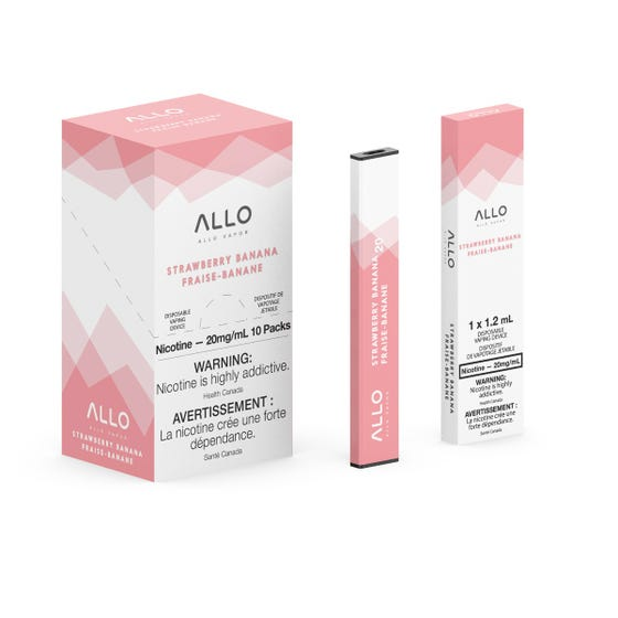 Strawberry Banana ALLO Disposable Pod Bar Alliston Newmarket Woodbridge Vaughan Toronto GTA Ontario Canada