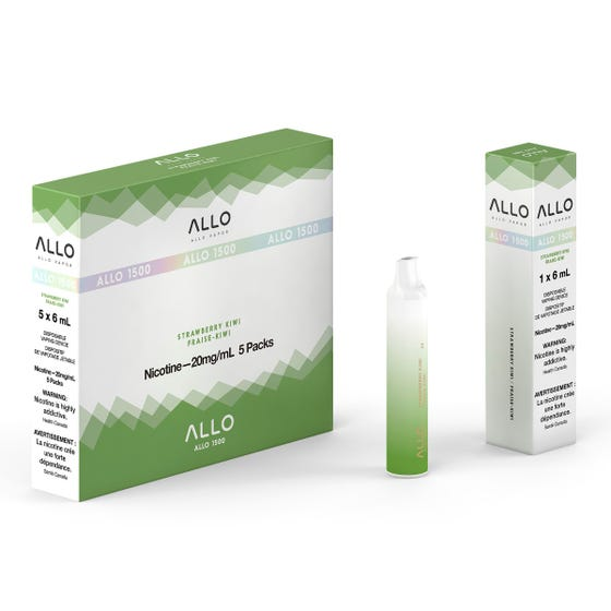 Strawberry Kiwi ALLO 1500 Disposable Pod Bar Alliston Newmarket Woodbridge Vaughan Toronto GTA Ontario Canada