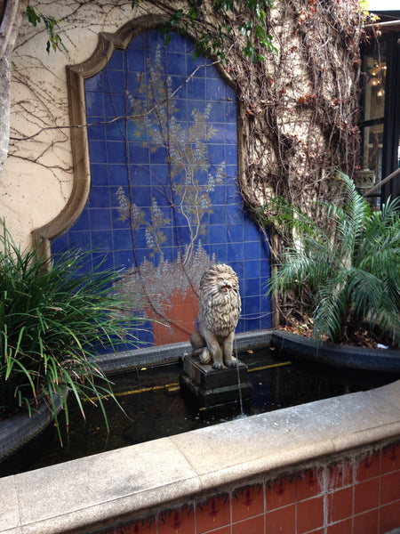 One of Santa Barbara's many lion fountains.