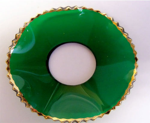 Green Fluted Glass with Gold Edge