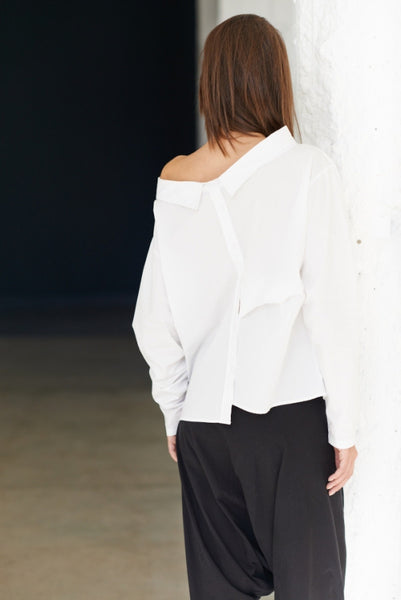 Reversible Wide-Collar Long Shirt•