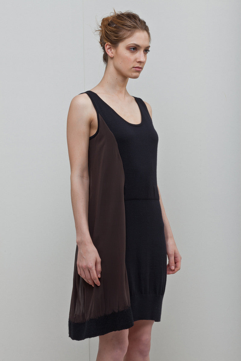 N36: Knit Felted Silk Chiffon Tank Dress