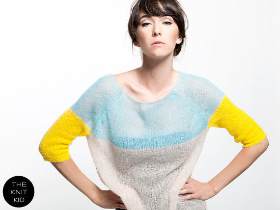 Yellow and Blue Mohair Sweater