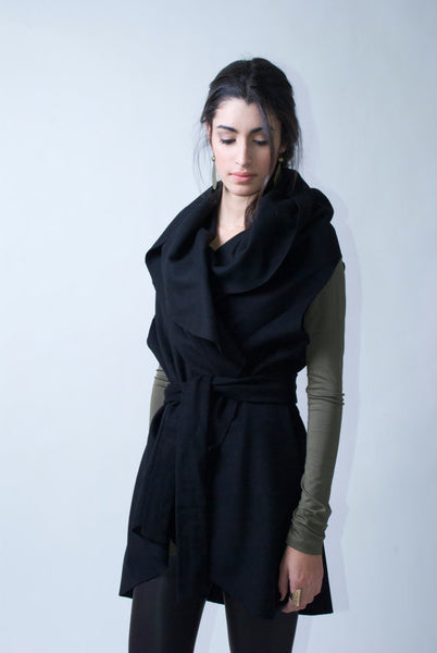 Hooded High-collar Vest Jacket
