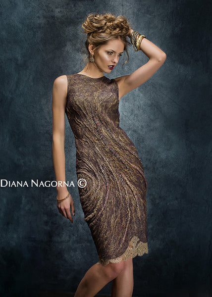 Gleam of the Moon:  Bronze Hand-beaded Dress