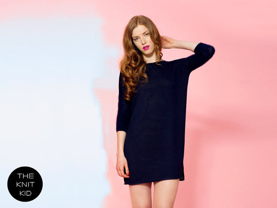 Navy Mohair Sweater Dress