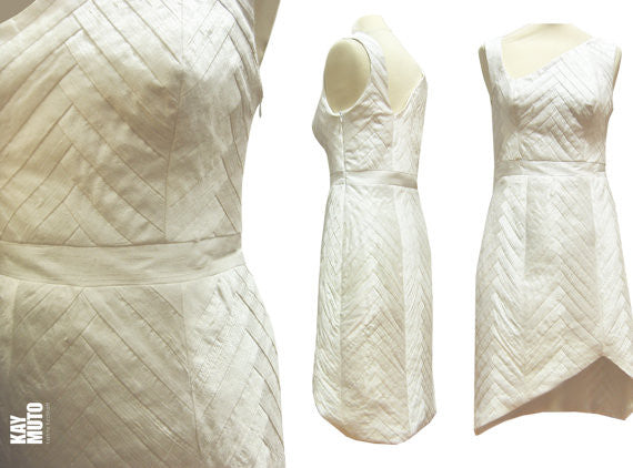 YOSEGI Asymmetrical Patchwork Silk Off-white Short Dress