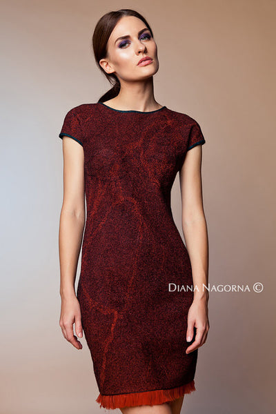 Gleam of the Moon:  Short Wine Red Hand-beaded Dress