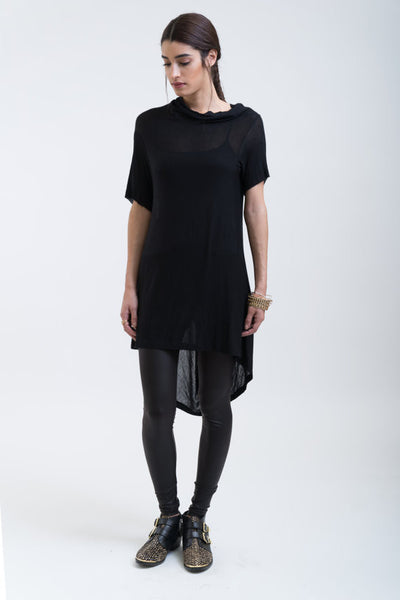 Cowl-backed T-shirtdress