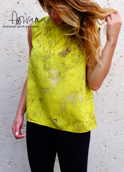 Chartreuse Painted Silk Tank