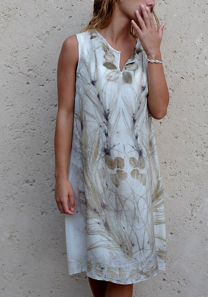 Silk Shift Dress - Olive Gray