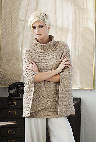 Hand-knit Cable Pancho