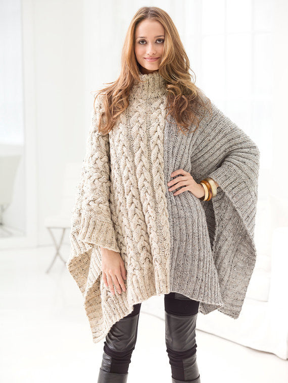 Hand-knit Two-toned Cable Poncho