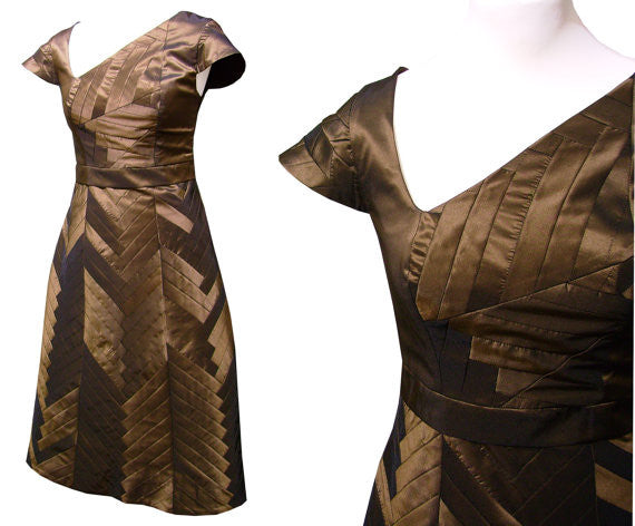 YOSEGI Dress Taffeta Bronze Capsleeve Patchwork Art
