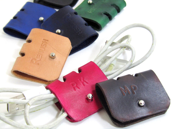 Monogrammed Leather Cord Case