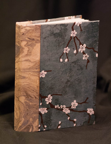 Cherry Blossom and Marble Hand-bound Journal