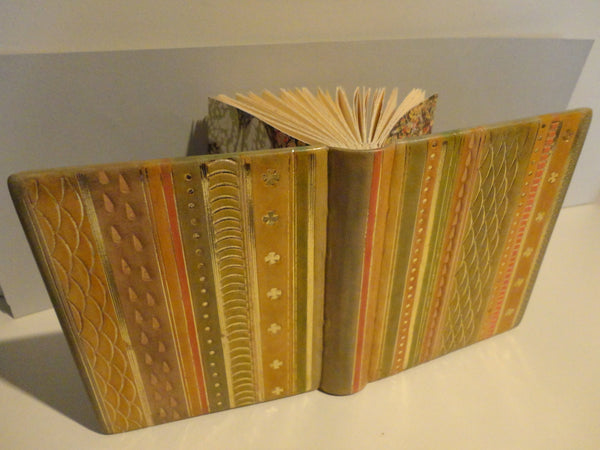 Hand-bound Striped Leather Embossed Journal