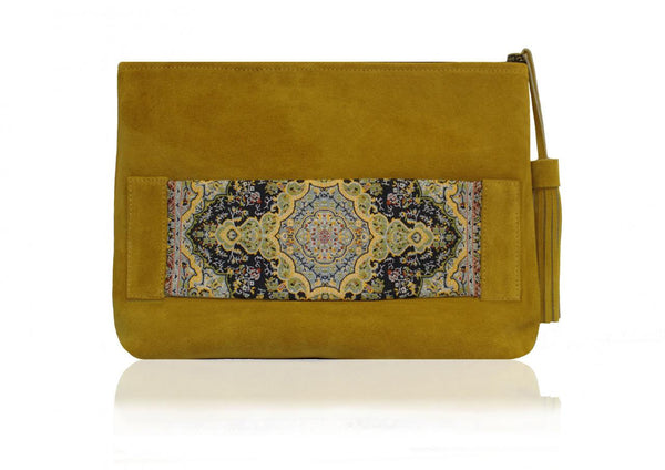 Pouch Maiya Paisley and Suede Clutch