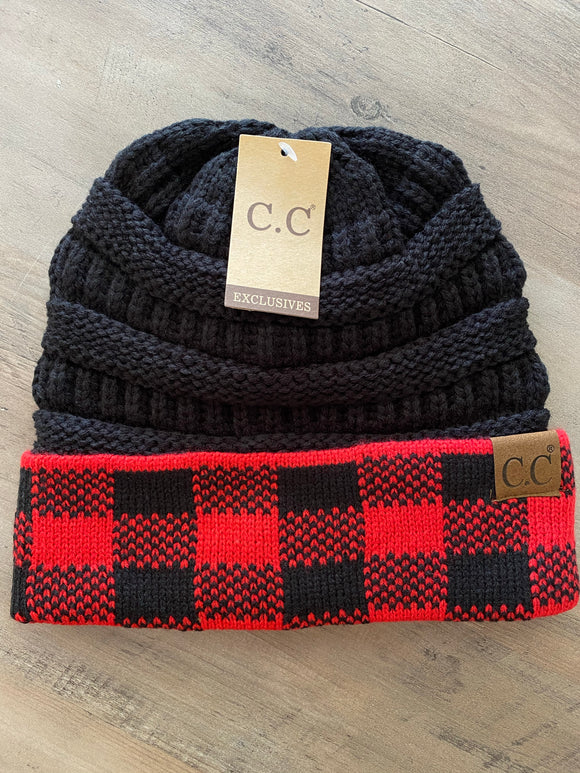 C.C Buffalo Plaid Beanie (Red/Black)