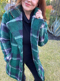 Piper Plaid Sherpa Coat (Green)