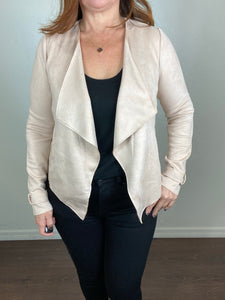 Dakota Draped Front Faux Suede Jacket